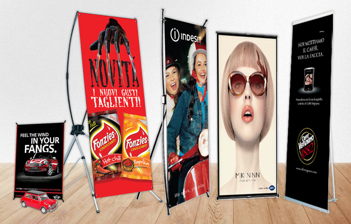 Sistemi Pubblicitari Indoor - X-Banner Tensiobanner XL Banner e Vele Pubblicitarie by LLsolutions.it